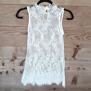 Sheer, White Lace Top with Scalloped Hem